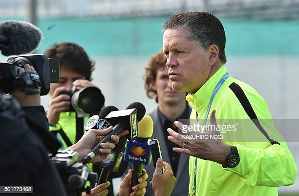 Mexico's Club America chairman Ricardo Pelaez Linares speaks to reporters during a morning football training session in Osaka on December 14 the day...