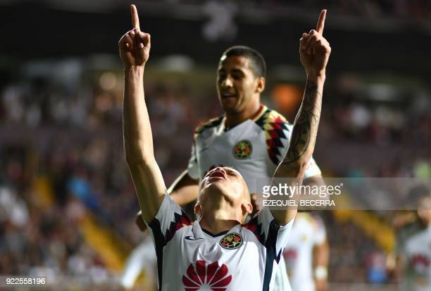 Mexicos Club America player Mateus Uribe celebrates with teammate Cecilio Dominguez after scoring against Costa Rica's Deportivo Saprissa during...