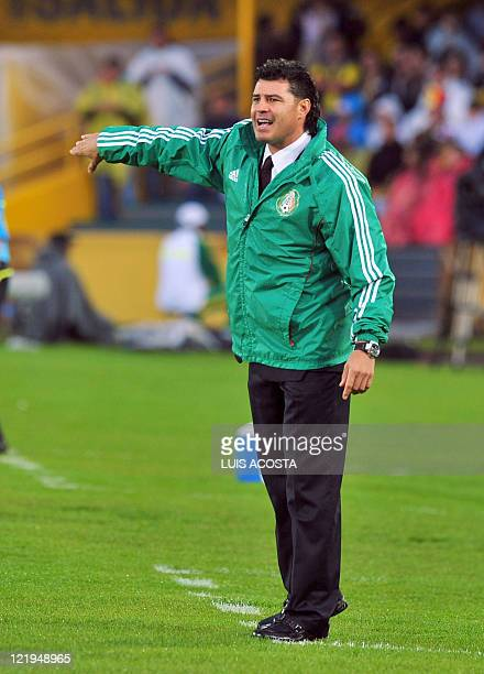 Mexico's coach Juan Carlos Chavez reacts during the FIFA 2011 Under-20 World Cup third place football match against France in Bogota on August 20,...
