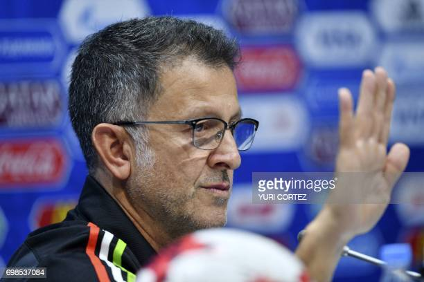 Mexico's Colombian coach Juan Carlos Osorio holds a press conference before a training session at the Fisht stadium in Sochi on June 20 2017 on the...