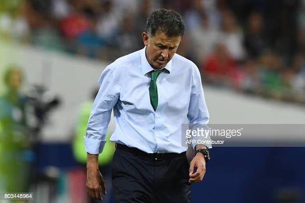 Mexico's Colombian coach Juan Carlos Osorio reacts during the 2017 FIFA Confederations Cup semifinal football match between Germany and Mexico at the...