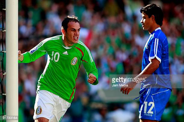 Mexicos' Cuauhtemoc Blanco celebrates score a goal during against El Salvador during their match as part of the 2010 FIFA World Cup at the Azteca...