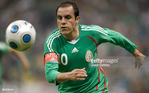 Mexico's Cuauhtemoc Blanco follows the ball during their FIFA World Cup South Africa2010 qualifier football match against Honduras at the Azteca...