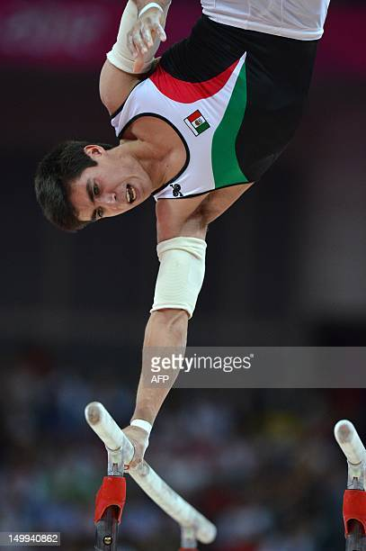 Mexico's Daniel Corral Barron performs during the men's parallel bars final of the artistic gymnastics event of the London Olympic Games on August 7...