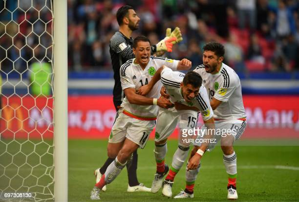 TOPSHOT Mexico's defender Hector Moreno celebrates after scoring a goal during the 2017 Confederations Cup group A football match between Portugal...