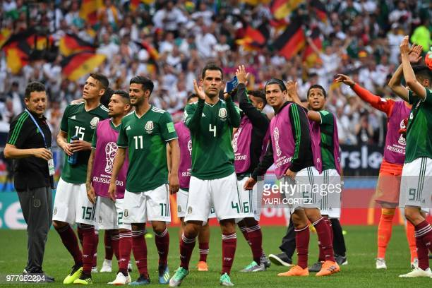 Mexico's defender Hector Moreno Mexico's goalkeeper Alfredo Talavera Mexico's forward Carlos Vela Mexico's midfielder Rafael Marquez and Mexico's...