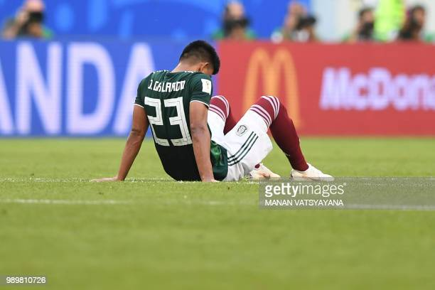 Mexico's defender Jesus Gallardo reacts at the end of the Russia 2018 World Cup round of 16 football match between Brazil and Mexico at the Samara...