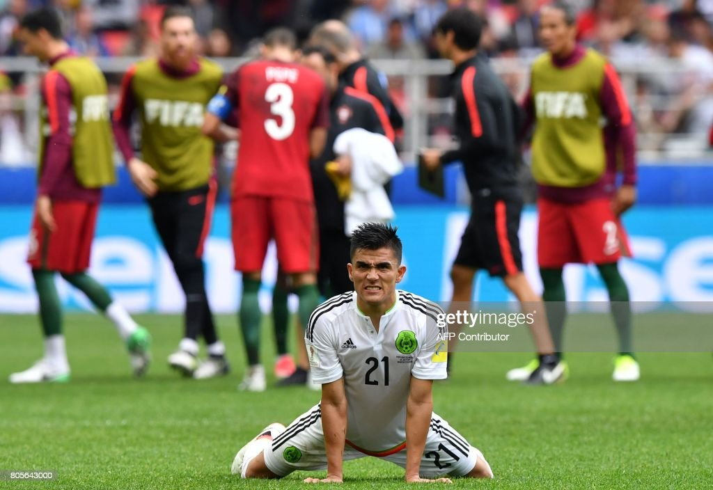 Mexico's defender Luis Reyes reacts at the end of the 2017 FIFA Confederations Cup third place football match between Portugal and Mexico at the Spartak Stadium in Moscow on July 2, 2017. / AFP PHOTO / Yuri KADOBNOV