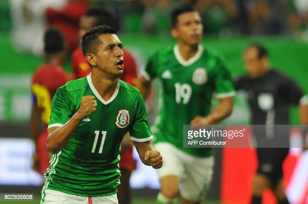Mexico's Elias Hernandez celebrates his goal against Ghana during the friendly match between Mexico and Ghana at NRG stadium on June 28 2017 in...