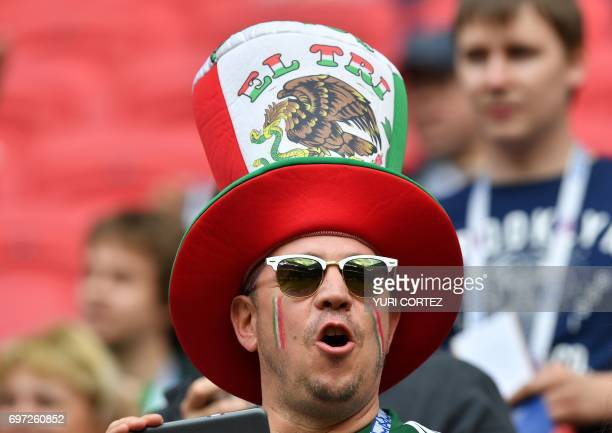 Mexico's fan wears a hat before the 2017 Confederations Cup group A football match between Portugal and Mexico at the Kazan Arena in Kazan on June 18...
