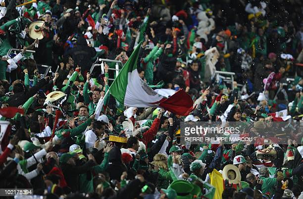 Mexico's fans cheer for their team during the 2010 World Cup group A first round football match between Mexico and France on June 17 2010 at Peter...