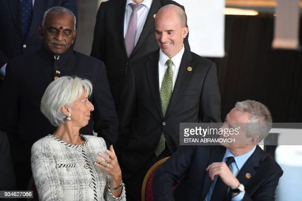 Mexico's Finance Minister Jose Antonio Gonzalez Anaya speaks with IMF Managing Director Christine Lagarde and French Economy Minister Bruno Le Maire...