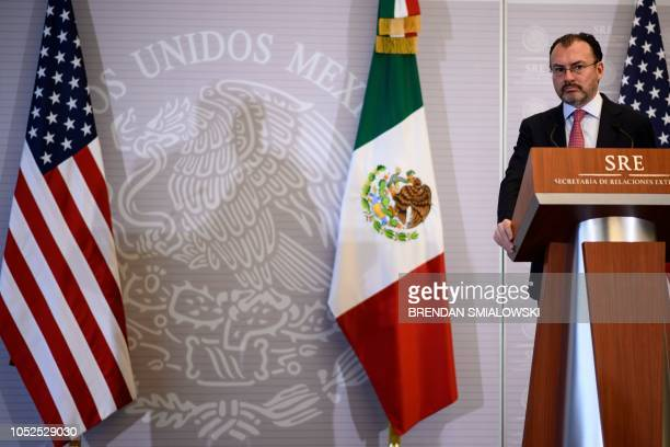 Mexico's Foreign Minister Luis Videgaray Caso listens during a press conference with US Secretary of State Mike Pompeo at the Ministry of Foreign...