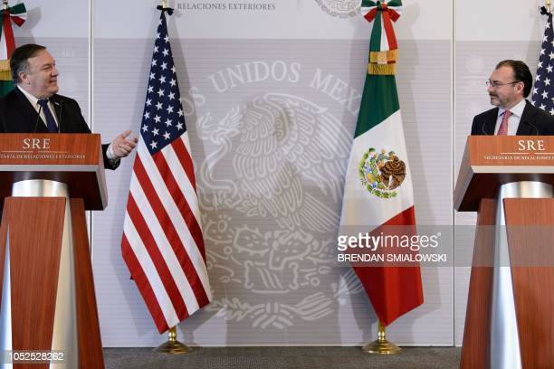 Mexico's Foreign Minister Luis Videgaray Caso listens while US Secretary of State Mike Pompeo speaks during a press conference at the Ministry of...
