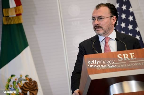 Mexico's Foreign Minister Luis Videgaray Caso speaks during a press conference with US Secretary of State Mike Pompeo at the Ministry of Foreign...