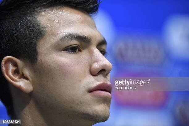 Mexico's forward Hirving Lozano holds a press conference before a training session at the Fisht stadium in Sochi on June 20 2017 on the eve of the...