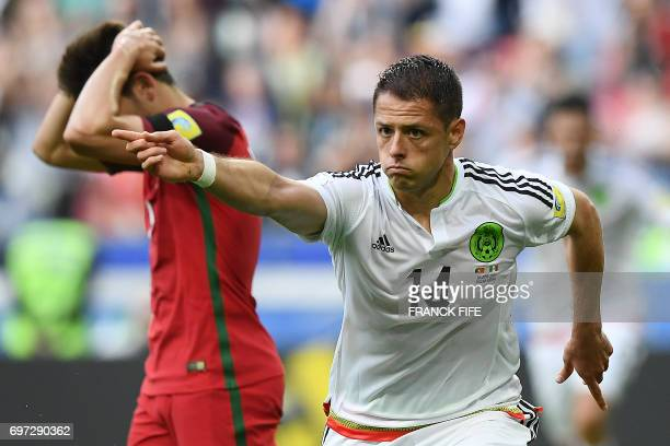 Mexico's forward Javier Hernandez celebrates after scoring a goal during the 2017 Confederations Cup group A football match between Portugal and...