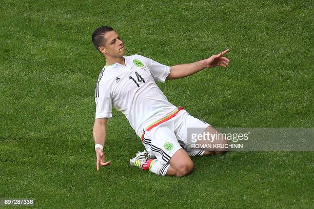 Mexico's forward Javier Hernandez celebrates after scoring during the 2017 Confederations Cup group A football match between Portugal and Mexico at...