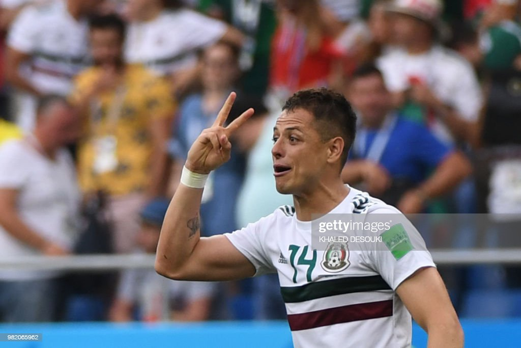TOPSHOT - Mexico's forward Javier Hernandez celebrates scoring their second goal during the Russia 2018 World Cup Group F football match between South Korea and Mexico at the Rostov Arena in Rostov-On-Don on June 23, 2018. (Photo by Khaled DESOUKI / AFP) / RESTRICTED