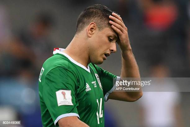Mexico's forward Javier Hernandez reacts during the 2017 FIFA Confederations Cup semifinal football match between Germany and Mexico at the Fisht...