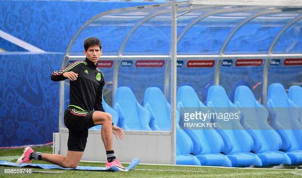 Mexico's forward Jurgen Damm attends a training session at the Fisht stadium in Sochi on June 20 2017 on the eve of the 2017 FIFA Confederations Cup...