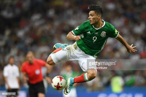 TOPSHOT Mexico's forward Raul Jimenez controls the ball during the 2017 FIFA Confederations Cup semifinal football match between Germany and Mexico...