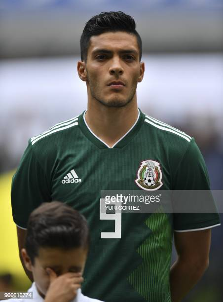 Mexico's forward Raul Jimenez during the ceremony before the friendly match between Mexico and Scotland at the Azteca stadium on June 2 2018