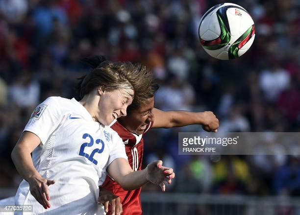 Mexico's forward Stephany Mayor vies with England's forward Fran Kirby during their Group F match at the 2015 FIFA Women's World Cup between England...