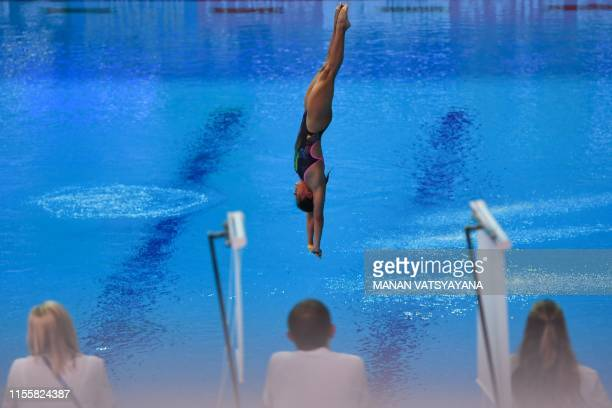 Mexico's Gabriela Garcia competes in the women's 10m platform diving event during the 2019 World Championships at Nambu International Aquatics Centre...