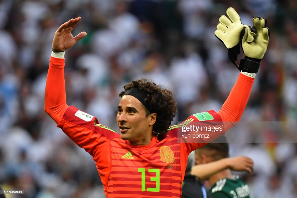 Mexico's goalkeeper Guillermo Ochoa celebrates their 1-0 victory at the end of the Russia 2018 World Cup Group F football match between Germany and Mexico at the Luzhniki Stadium in Moscow on June 17, 2018. (Photo by Yuri CORTEZ / AFP) / RESTRICTED