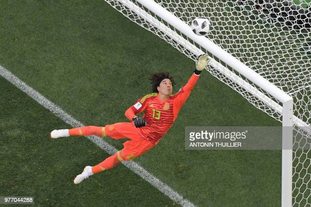TOPSHOT Mexico's goalkeeper Guillermo Ochoa in action during the Russia 2018 World Cup Group F football match between Germany and Mexico at the...