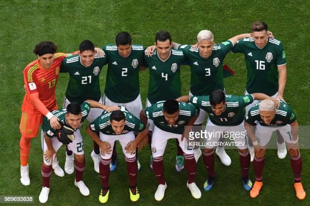 Mexico's goalkeeper Guillermo Ochoa, Mexico's defender Edson Alvarez, Mexico's defender Hugo Ayala, Mexico's midfielder Rafael Marquez, Mexico's...