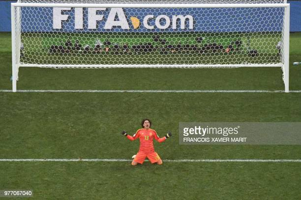 TOPSHOT Mexico's goalkeeper Guillermo Ochoa reacts at the end of the Russia 2018 World Cup Group F football match between Germany and Mexico at the...