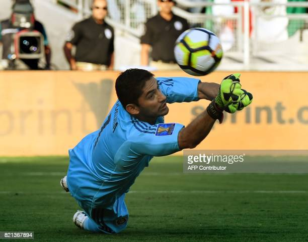 Mexico's goalkeeper Jesus Corona makes a save against Jamaica before they were defeated 10 in their semifinal game during the 2017 CONCACAF Gold Cup...