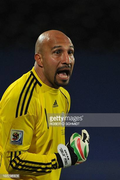 Mexico's goalkeeper Oscar Perez gestures during their Group A first round 2010 World Cup football match on June 22 2010 at Royal Bafokeng stadium in...