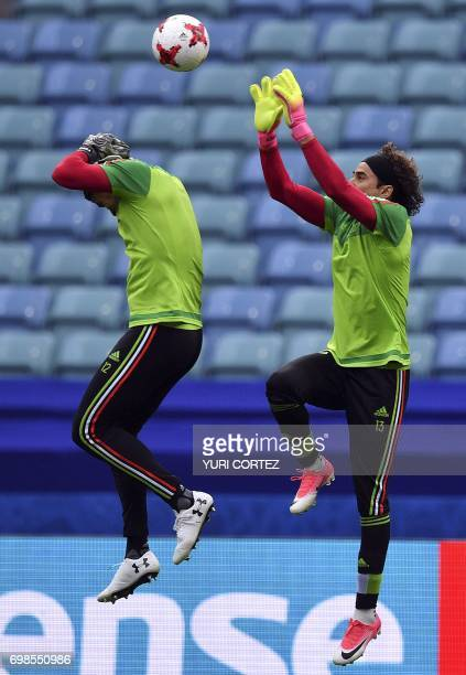 Mexico's goalkeepers Guillermo Ochoa and Alfredo Talavera take part in a training session at the Fisht stadium in Sochi on June 20 2017 on the eve of...