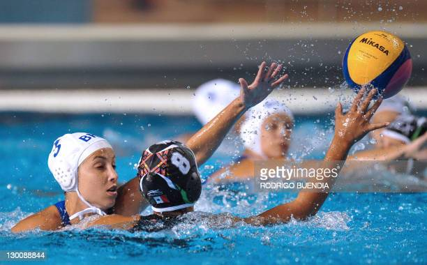 Mexico's Guadalupe Perez is blocked by Brazil's Marina Zablith in the water polo match during their XVI Pan American Games in Guadalajara Mexico on...