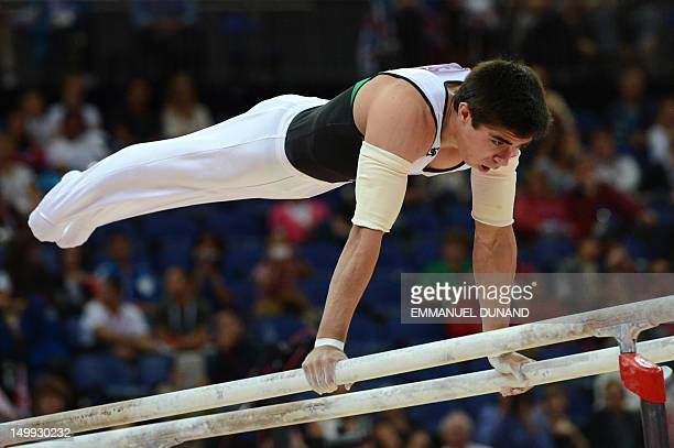 Mexico's gymnast Daniel Corral Barron performs during the men's parallel bars final of the artistic gymnastics event of the London Olympic Games on...