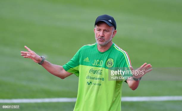 Mexico's head coach Colombian Juan Carlos Osorio attends a training session ahead of the Russia 2017 Confederation Cup football tournament in Kazan...