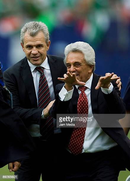 Mexico's head coach Javier Aguirre and Femexfut President Justino Compean celebrate the Gold Cup title after defeating USA on a score of 5-0, on July...