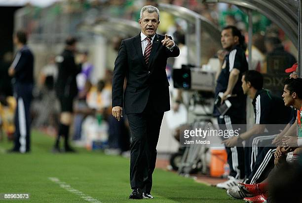 Mexico's head coach Javier Aguirre shouts instructions during the 2009 CONCACAF Gold Cup match against Panama at the Reliant Stadium on July 9, 2009...