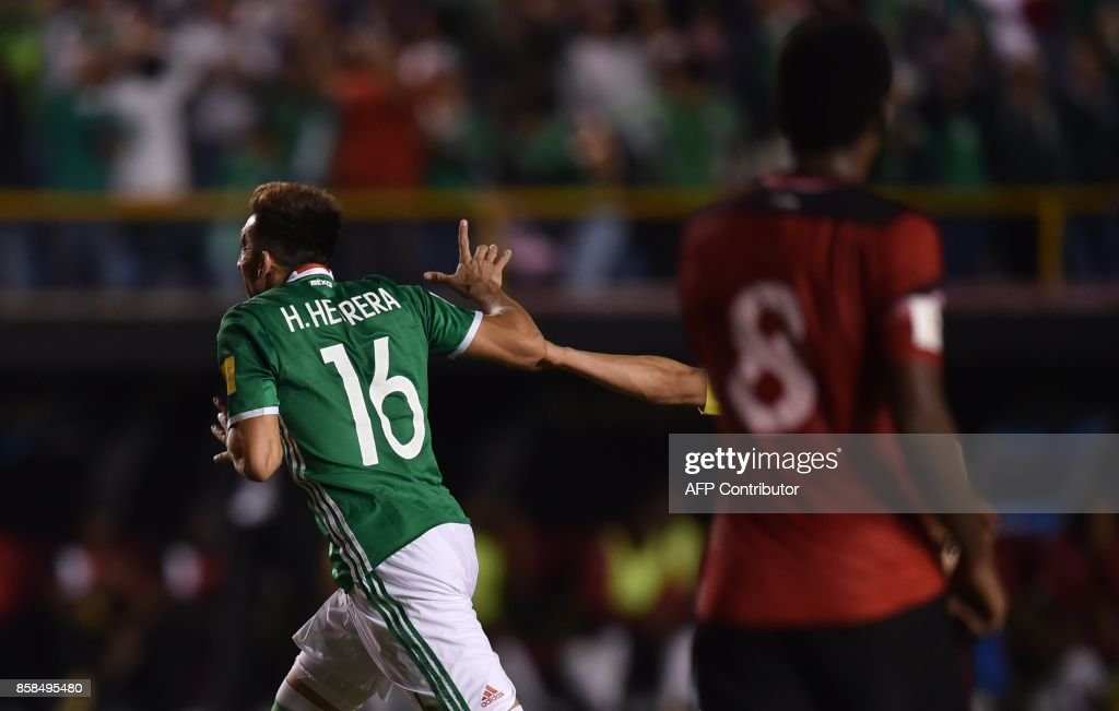 Mexico's Hector Herrera celebrates after scoring against Trinidad and Tobago, during their 2018 World Cup qualifier football match in San Luis Potosi, Mexico, on October 6, 2017. /