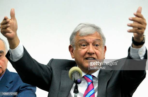 Mexico's incoming leftist president Andres Manuel Lopez Obrador speaks during a press conference in Mexico City on October 29 2018 Lopez Obrador said...