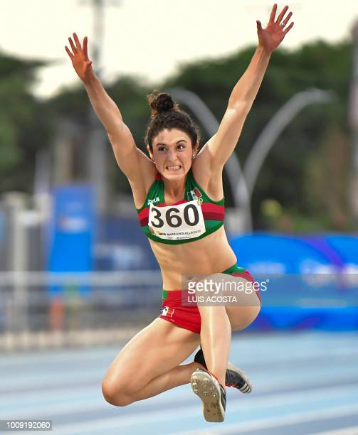 Mexico's Ivonne Rangel competes in the women's triple jump competition during the 2018 Central American and Caribbean Games in Barranquilla Colombia...