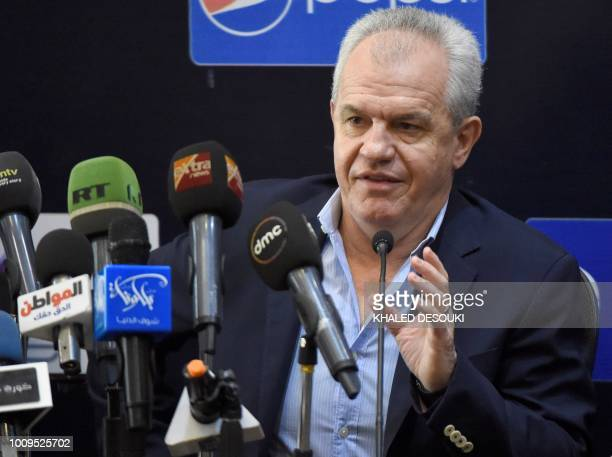 Mexico's Javier Aguirre speaks during a press conference in the Egyptian capital Cairo on August 2 2018 The Egyptian Football Association presented...