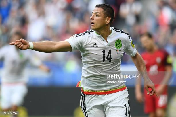 TOPSHOT Mexico's Javier Hernandez celebrates after scoring a goal during the 2017 Confederations Cup group A football match between Portugal and...