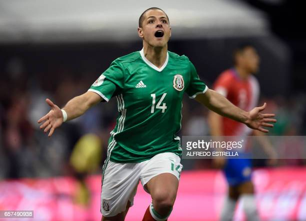 CORRECTION Mexico's Javier Hernandez celebrates after scoring against Costa Rica during their 2018 FIFA World Cup qualifier football match in Mexico...