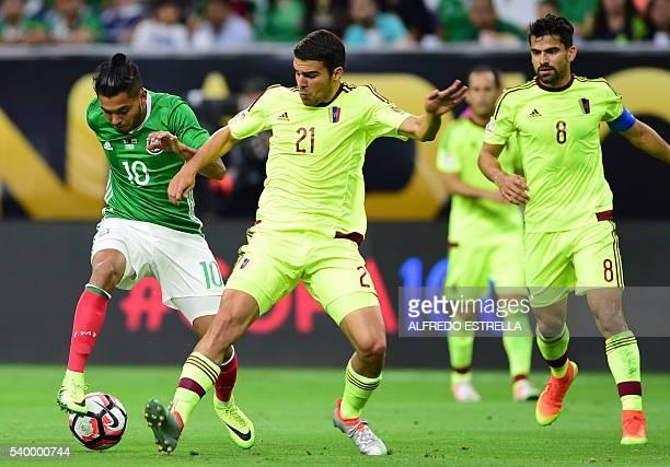 8dc1b9fde Mexico s Jesus Manuel Corona and Venezuela s Alexander Gonzalez vie for the  ball during their Copa America