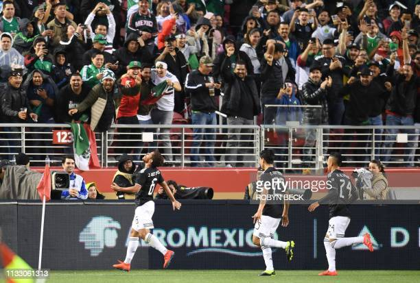 Mexico's Jonathan Dos Santos celebrates after scoring a goal during the international friendly match between Mexico and Paraguay at Levi's Stadium in...
