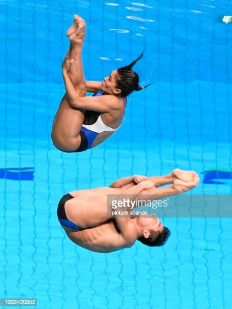 Mexico's Julian Sanchez and Arantxa Chavez Munoz in action during the 3m springboard synchro mixed of the FINA World Championships 2017 in Budapest...